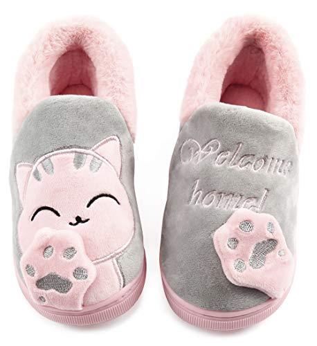 Vunavueya Mujer Zapatillas de Estar por Casa Hombre Zapatos Pantuflas Casa Invierno Interior Caliente Peluche Forradas Slippers Gris(Cat) 39/40 EU/40-41CN