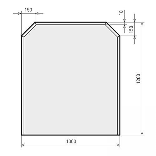 raik B40013 Kamin Glasplatte Zunge eckig inkl. Facette