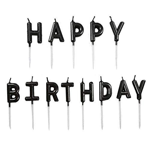 JUHONNZ Velas de Feliz Cumpleaños,Velas únicas Happy Birthday para Decorar Pastel de Cumpleaños,Velas Decorativas para Decoración un Tarta de Cumpleaños,Negro