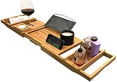 Luxury Bath Caddy Tray for Tub | Bath Table | Premium Bamboo Bathtub Tray for Tub | Fits All Bath Accessories Wine Glass, Books, Tablets, Cellphones, Shampoo, Soap | Bath Shelf Foldable Design