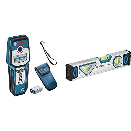 Bosch Professional digitales Ortungsgerät GMS 120 (spannungsführende Leitungen: 38/120/80/50 mm) & Wasserwaage 25 cm mit Magnet System (rundum ablesbar, Aluminium-Gehäuse, robuste Endkappen)