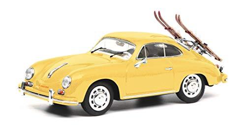Schuco 452022900 Porsche 356 Carrera Coupé, Skiurlaub mit Skiträger + Skiern, Modellauto, Maßstab 1:64, gelb