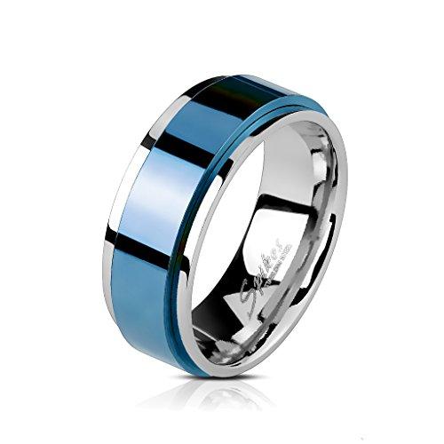 BlackAmazement acero inoxidable anillo giratorio azul Blue IP Spinner Spinning Center