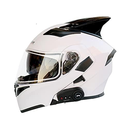 Smilfree Casco De Motocicleta Casco Bluetooth Integrado Casco Modular con Bluetooth ECE Aprobado Casco Integral De Motocicleta Casco De Scooter Casco De Doble Espejo Unisex XL=(61~62cm)