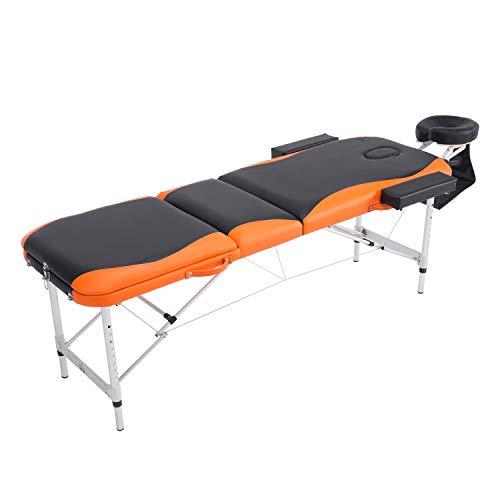 Homcom Professionele massagestoel, inklapbaar, aluminium, zwart en oranje, 214 x 60 cm