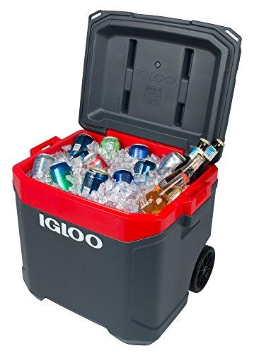 Igloo Latitude 60qt Roller Cooler, Jet Carbon/Red Heat