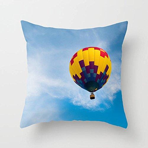 Thomas655 Hot Air Balloon Kwekerij Decor Geslacht Neutraal Nebraska Fotografie Blauw Sky Cloud Kussen Voor Kinderen Speelkamer Decor Photo Kussen Cover