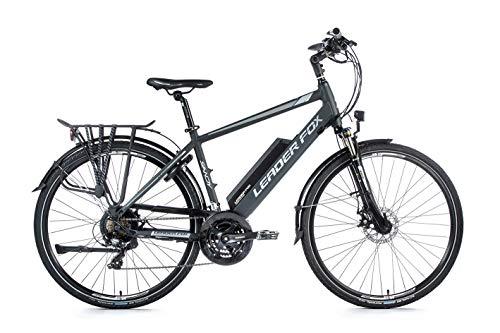 28 Zoll Alu Leader Fox E-Bike Elektro Fahrrad Trekking Herren 21 Gang grau-weiß RH 44cm