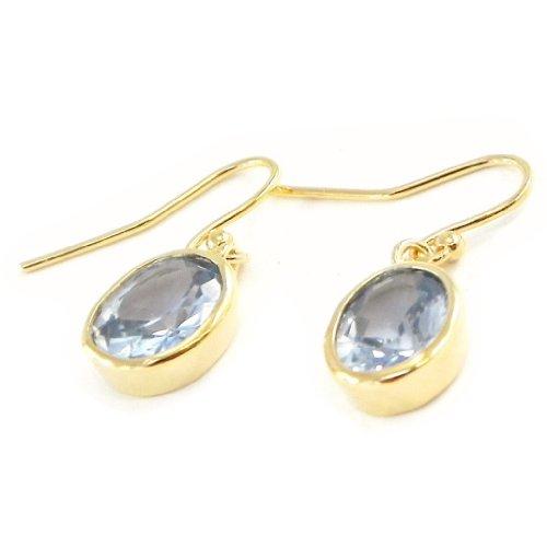 Les Trésors De Lily [G2832] - Ohrringe vergoldet 'Linda' blauer topas.