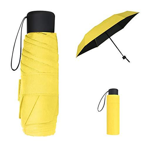 Vicloon Mini Regenschirm, Pocket Taschenschirm mit 6 Edelstahl Rippen, Sonnenschutz Regenschirm, Freien UV Faltender Regenschirm, Klein, Leicht, UV-Faltender für Erwachsene und Kinder - Gelb