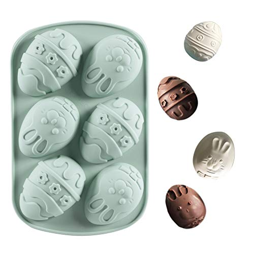 Lauren 6 Cavity Easter Rabbit Bunny Egg Silicone Bakeware Dessert Cake Pan Muffin Cups Handmade Soap Moulds Party Decorate Tool