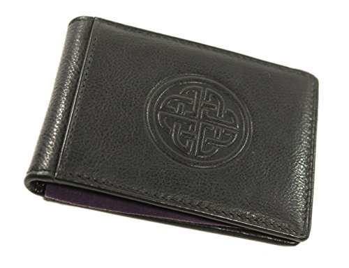 Celtic Wallet & Money Clip Irish Knot Black Leather Made in Ireland