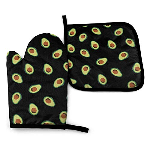 iuitt7rtree Avocado-Ofenhandschuhe und Topflappen, 3D-Druck, rutschfest, waschbar, humorvoll, hitzebeständig, sichere Küchenhandschuhe für Mikrowelle, Grillen, Grillen, Backen