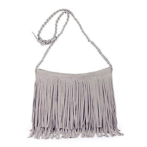Fashion Fransentasche Damentasche aus Wildleder Beutel Taschen Schultertasche Umhängetasche mit Reissverschluss