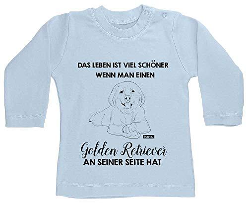 """Hariz - Camiseta de manga larga para bebé, diseño de animales con texto """"Das Leben ist Viel Schöner Golden Retriever"""", color azul claro 6-12 meses"""