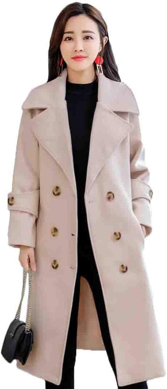 Esast Women's Vintage Lapel Trench Coat DoubleBreasted Wool Jacket Outwear