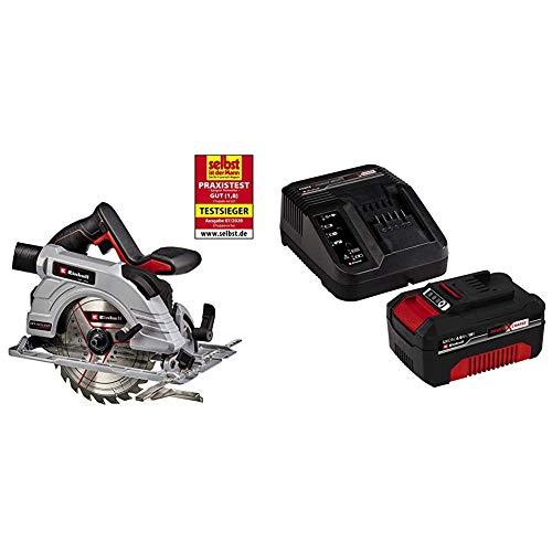 Einhell 4331210 Sierra Circular de mano a batería TE-CS 18/190 LI Brushless (Sin escobillas) + Kit con Cargador y batería de repuesto de 18 V, 4 Ah, 0 W, 21 V, Negro, Rojo Tiempo de Carga: 60 Minutos