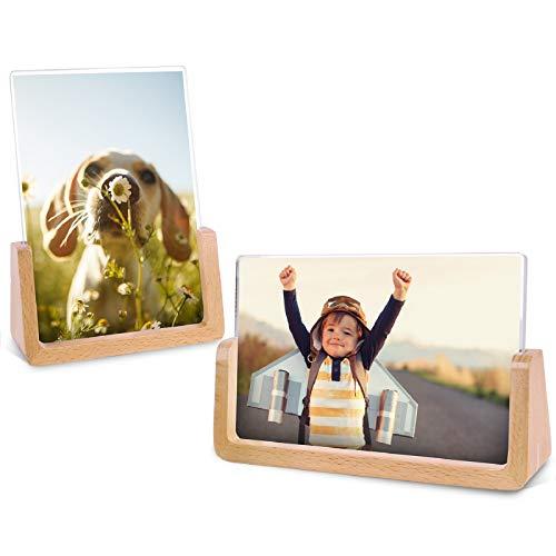 Teamkio Bilderrahmen 10x15 cm Natur Holz Fotorahmen 2er Holz Design Bilderrahmen Natur Buche und Transparenten Acrylrahmenabdeckungen Bilderrahmen für Bildanzeige im Haus/Büro (Horizontal + Vertikal)