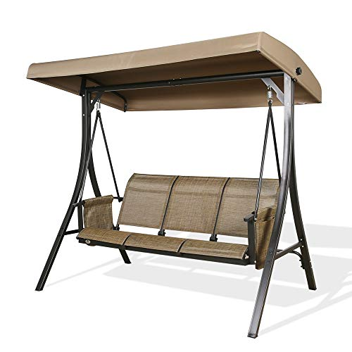 Patio Tree 3-Seater Outdoor Porch Swing Steel...