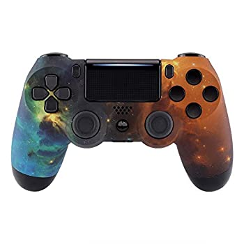 eXtremeRate Orange Star Universe Soft Touch Faceplate Cover for PS4 Slim Pro Controller Custom Front Housing Shell for Playstation 4 Controller JDM-040 JDM-050 JDM-055 - Controller NOT Included