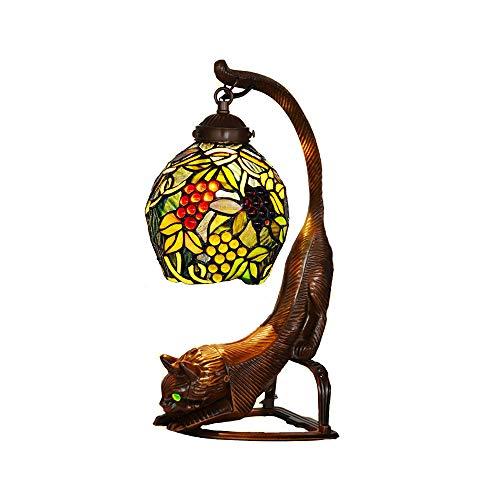 Creative Eule Tiffany Stil Kleine Tischlampe Trauben Muster Glasmalerei Zinklegierung Basis Handgefertigte Tischleuchte Für Schlafzimmer Lampe Tisch-Leuchte E14