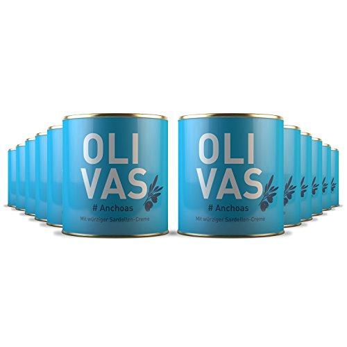 12er Set * OLIVAS Anchoas / 80 g (Dose) * Manzanilla Oliven der Handelsklasse Extra mit würziger Sardellencréme