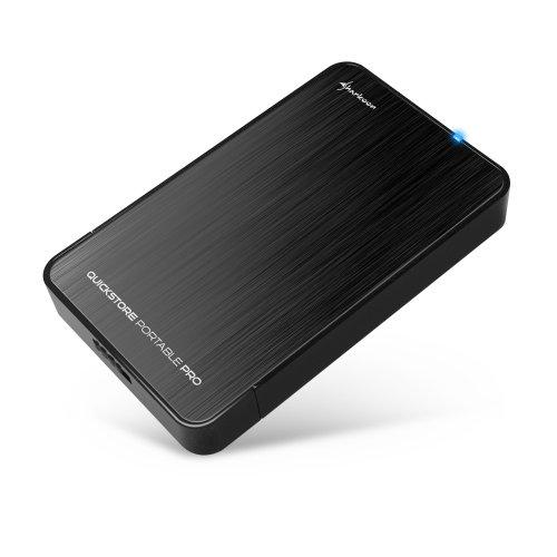 Sharkoon Quickstore Portable Pro USB 3.0 Gehäuse für 2,5 Zoll (6,4 cm) SATA Festplatte inkl. Backup Funktion schwarz