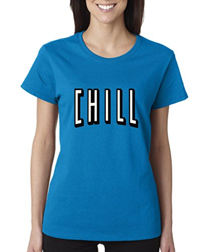 Netflix and Chill Ladies T-Shirt Funny Hangout Shirts Large Sapphire f0001