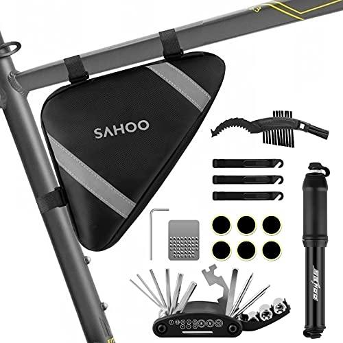 laxikoo Fahrrad Satteltasche mit 16 in 1 Werkzeuge Fahrrad Reparatur Set umfassen Fahhradtasche und Werkzeugsets und Fahrradventil Adapter die Fahrrad-Reparatur für...