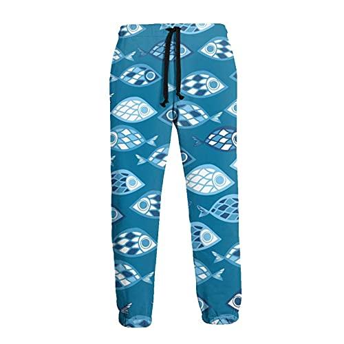 136 Pantalones de chándal de los hombres, Azul Pescado Joggers Pantalones de deporte de moda pantalones deportivos para los hombres para el deporte