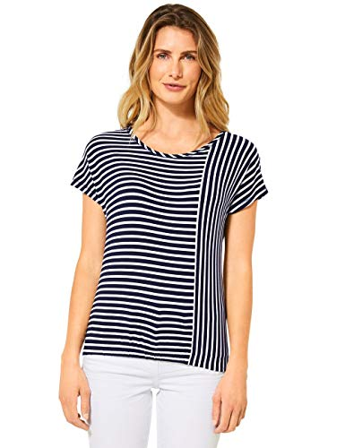 Cecil Damen 315151 TOS Stripe Patch Shape T-Shirt, deep Blue, Medium