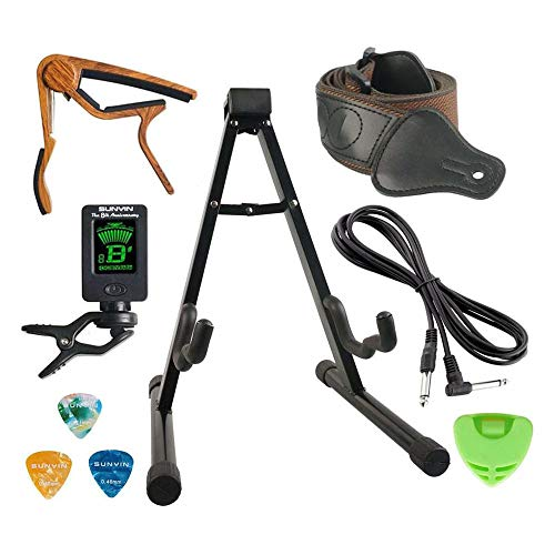 SUNYIN Guitar Stand Accesssories Kit,10-Feet Guitar Cord,Guitar Starp,Guitar Tuner,Guitar Capo,3 Guitar Picks For Acoustic and Electric Guitar,Bass,Guitar Practical Gift For Players