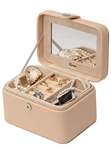 IsmatDecor - Dames of kinderen juwelenkistje - Cadeau kinderen - Reis juwelendoos - 2 niveaus - Spiegel en sleutelslot - Voor het opbergen van oorbellen, kettingen en ringen