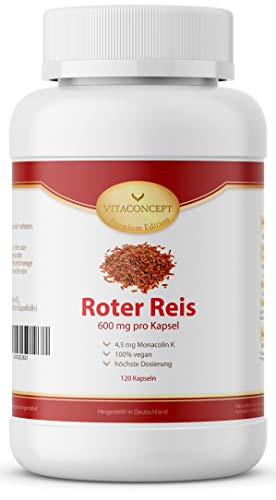 Fermentierter Roter Reis Kapseln 600mg - VEGAN - 120 Kapseln - Roter Reis Extrakt mit Monacolin K 4,5 mg HOCHDOSIERT - Monascus purpureus - VITACONCEPT