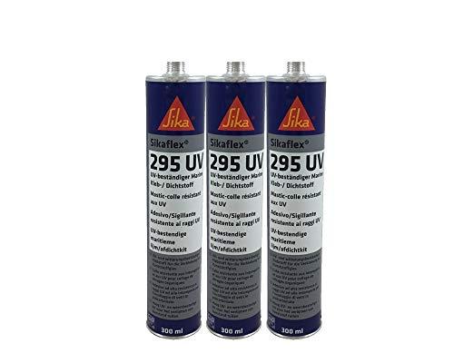 Sparset 3x Sikaflex 295 UV Scheibenkleber für Kunststoffscheiben, extrem UV-resistent, ideal für den Bootsbau 300ml schwarz