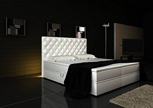 Boxspringbett Weiß Panama Lift 160×200 inkl. 2 Bettkästen Hotelbett Bett LED Chesterfield - 3