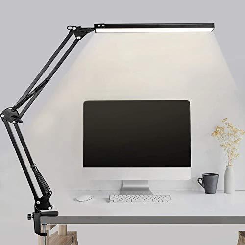 MINLUK Lampada da scrivania a LED, con braccio girevole, per architetti, da ufficio, a intensità regolabile, con temperatura del colore regolabile
