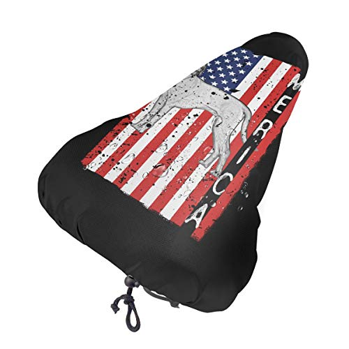 N/A/ Patriotic Rhodesian Ridgeback USA Flag Waterproof Bicycle Seat Cover Rain Cover with Drawstring Bicycle Saddle Cover