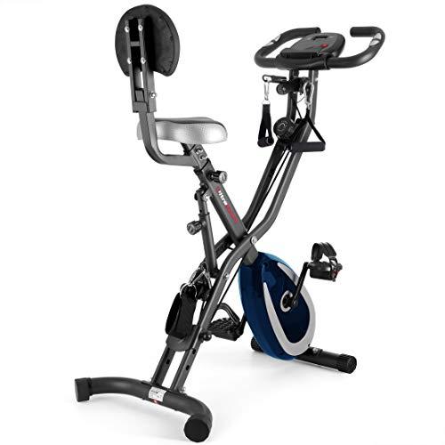 Ultrasport F-Bike 400BS Vélo Cross avec Dossier, Système de Courroies, Écran LC et Appli, Pliable d'Appartement Mixte Adulte, Gris Foncé/Bleu Marine