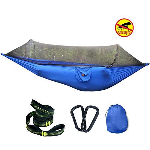 Lightweight Single Fatboy Hammock with Storage Bag + Strap,300kg Load Capacity (250x120cm) Blue Hamock for Trees