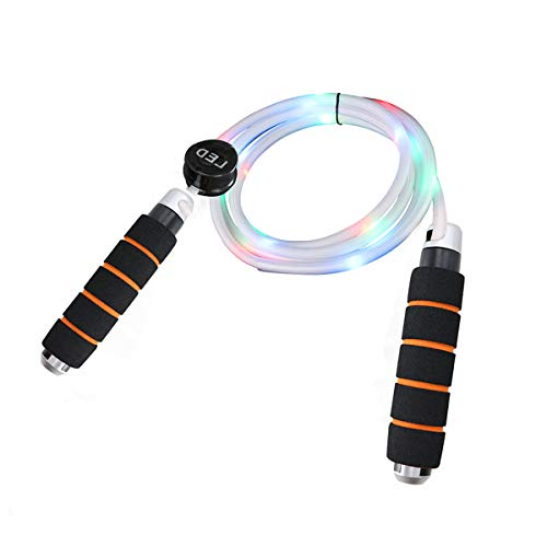 LED Jump Rope, Light Up Jump Rope Flashing Color Changing Skipping Rope for Light Show, USB Chargeable, Comfortable Foam Handle, Multi Color - Universal Size for Kids & Adults