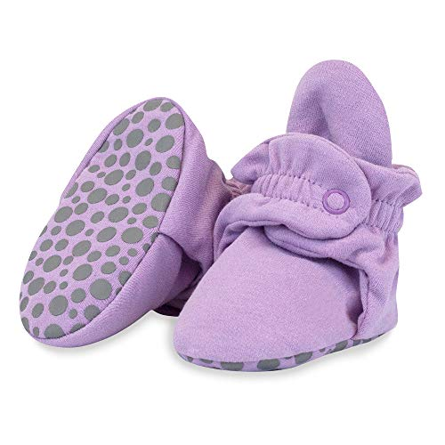 Zutano Organic Cotton Baby Booties with Gripper Soles, Soft Sole Stay-On Baby Shoes, Lilac Solid, 6M