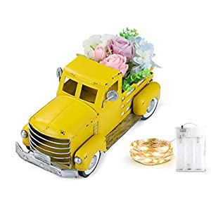 Vintage Easter Yellow Truck with Artificial Flowers & Fairy Lights Decorations, Farmhouse Pick-up Metal Truck Spring Decorations & Decorative Dining Table Centerpiece