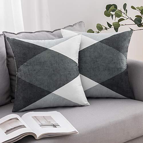 MIULEE 2er Set Kissenbezug Geometrische Zierkissenbezüge Wildlederoptik Sofa Bett Home Decorative Weich Dekorative Kissenhülle Sofakissen Schlafzimmer Grau Grün und Weiß 45x45cm 18X18