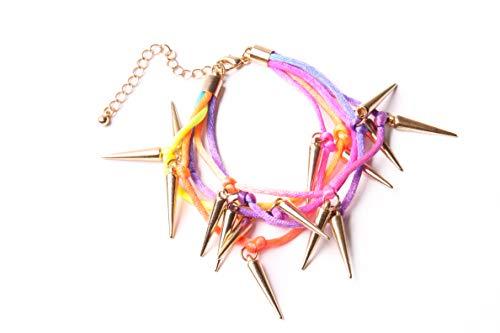 Cinco filas de colores de neón arcoíris, pulsera de fiesta con múltiples conos de color dorado y abalorios de Funky Rocker a la moda inspirada en hippie (T653)