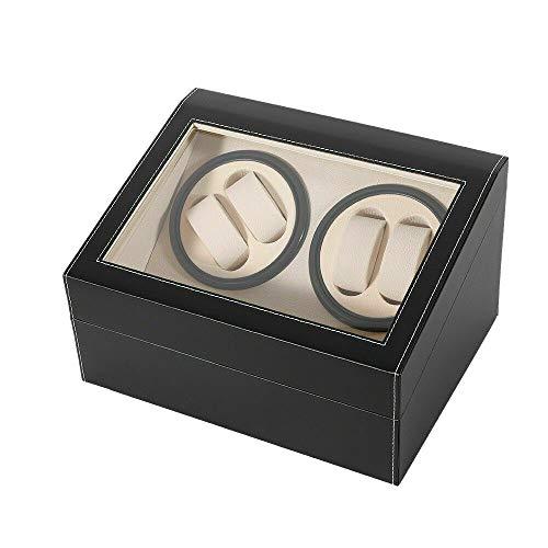 RANZIX Automatik Uhrenbeweger Holz Watch Winder Box Uhrenkasten für 4 + 6 Uhren, Uhrenbox Mute Automatische Uhrenbeweger Laufleise, Watch Winder