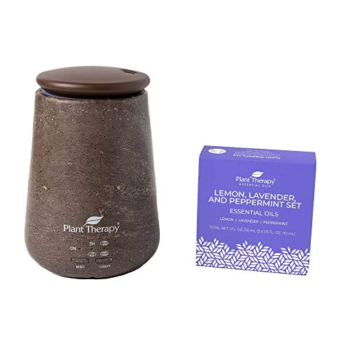Plant Therapy Lemon, Lavender & Peppermint Set with TerraFuse Brown Essential Oil Diffuser 100% Pure, Undiluted, Therapeutic Grade
