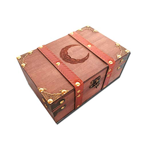 8.3' Wood and Leather Celtic Moon Chest Box, Crescent Wooden Box with Velvet Lining, Vintage Tarot Box and Chalice Set (Box Only)