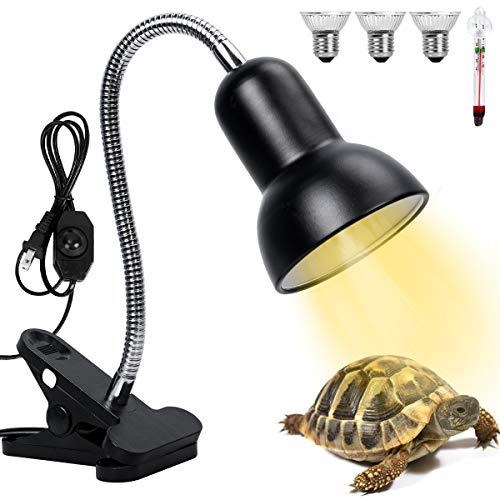 Altobooc Lámpara de calor para reptiles de 25 W y 50 W con interruptor regulable para acuario con lámpara UVA UVB y clip giratorio de 360 °