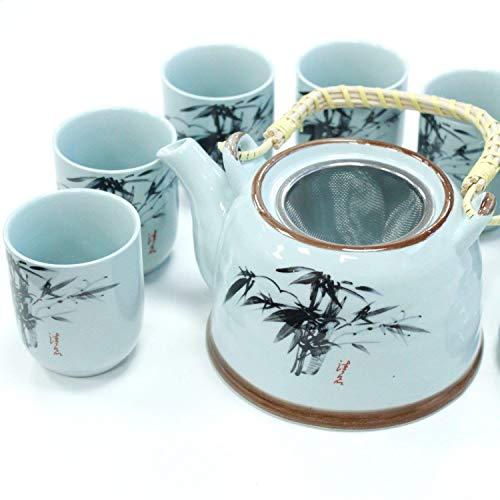 Kruiden Theepot Blauwe Steen Oosterse Gebouwd in Teastrainer en 6 Bijpassende Bekers